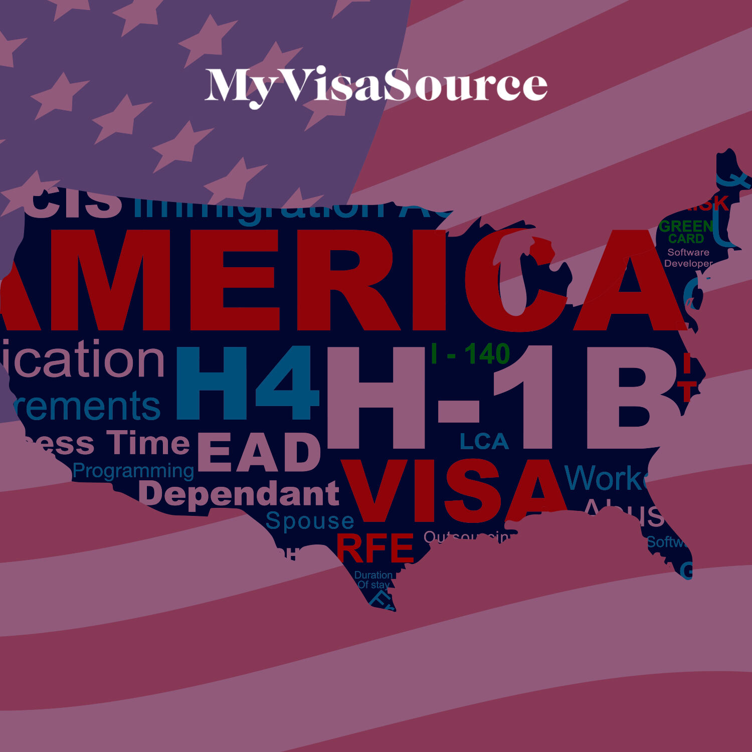 map of america with h 1b visa words