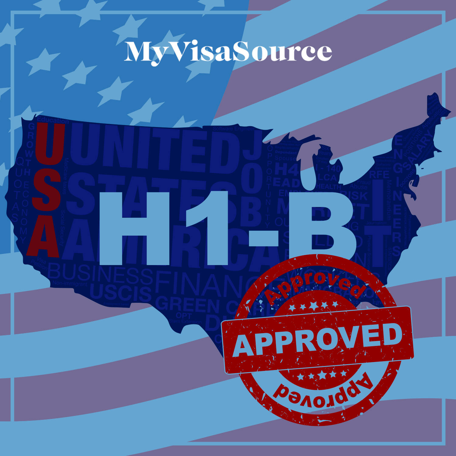 map of america with h1 b visa and approved symbol