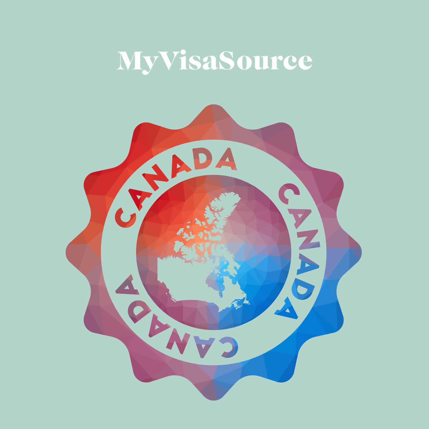 multi coloured logo with map of canada in the center and canada around the logo my visa source