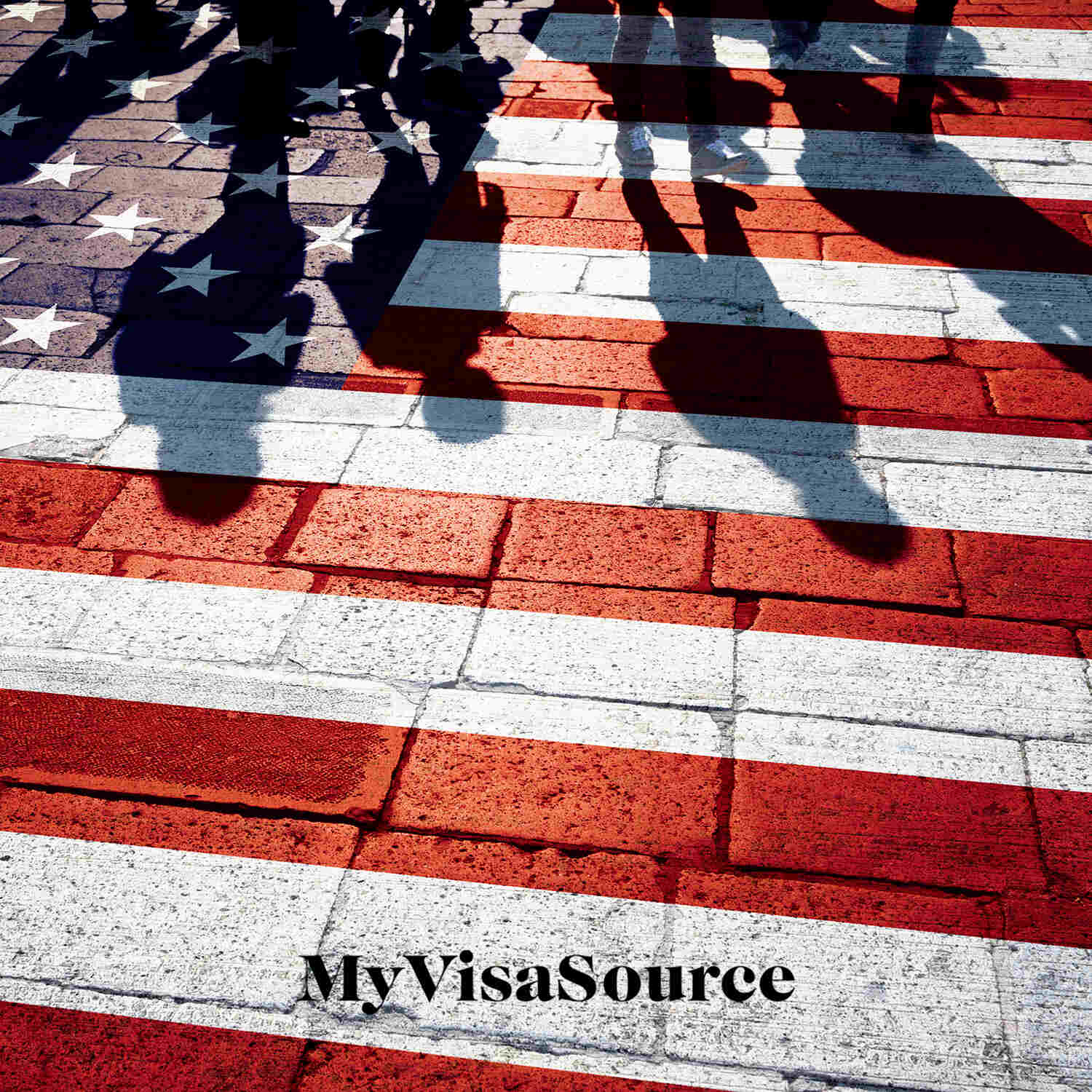 painted american flag on brick ground shadows of people over it my visa source