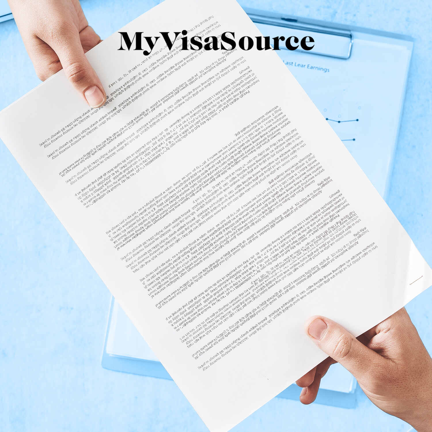 paperwork handing from 1 hand to another my visa source