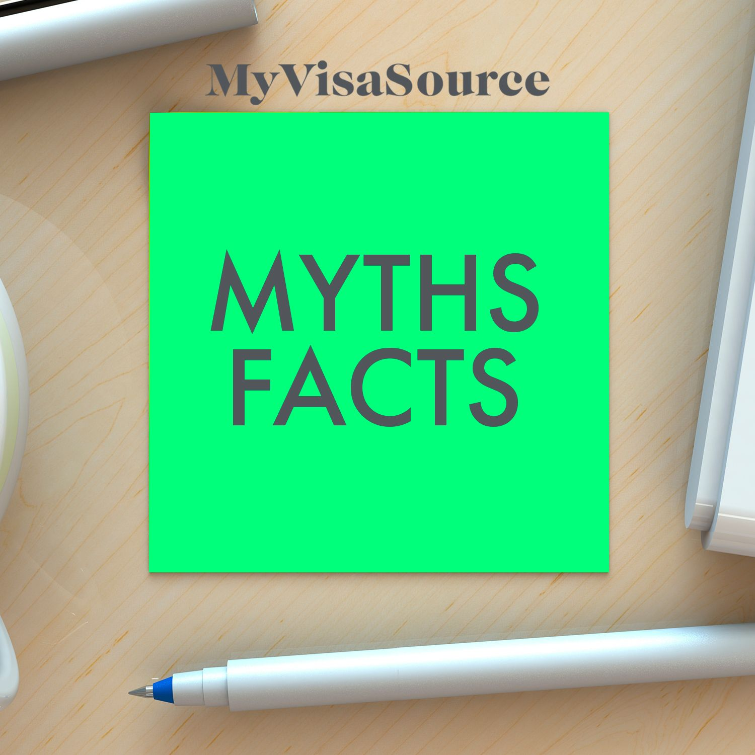 post it note with myths and facts written on it my visa source