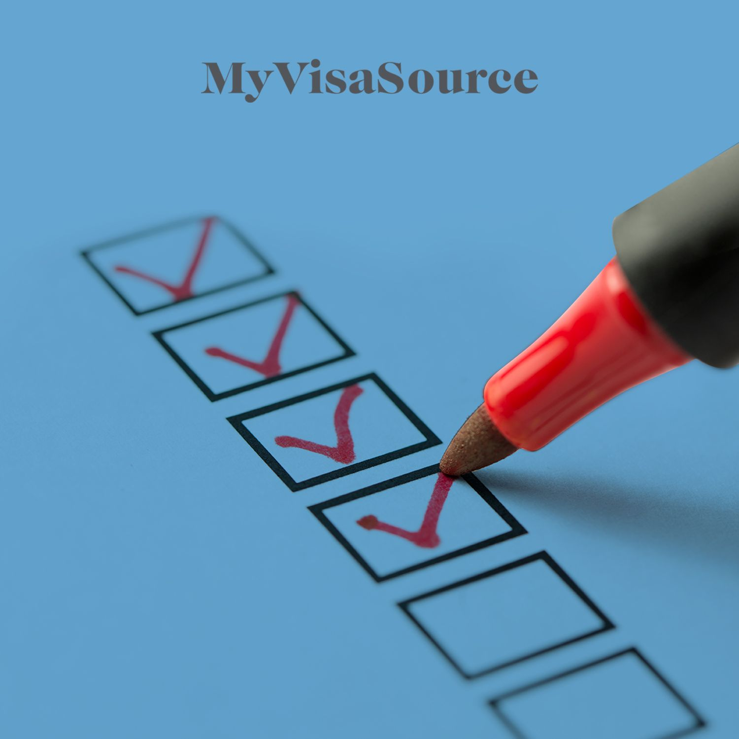 red marker checking off some boxes in a checklist my visa source