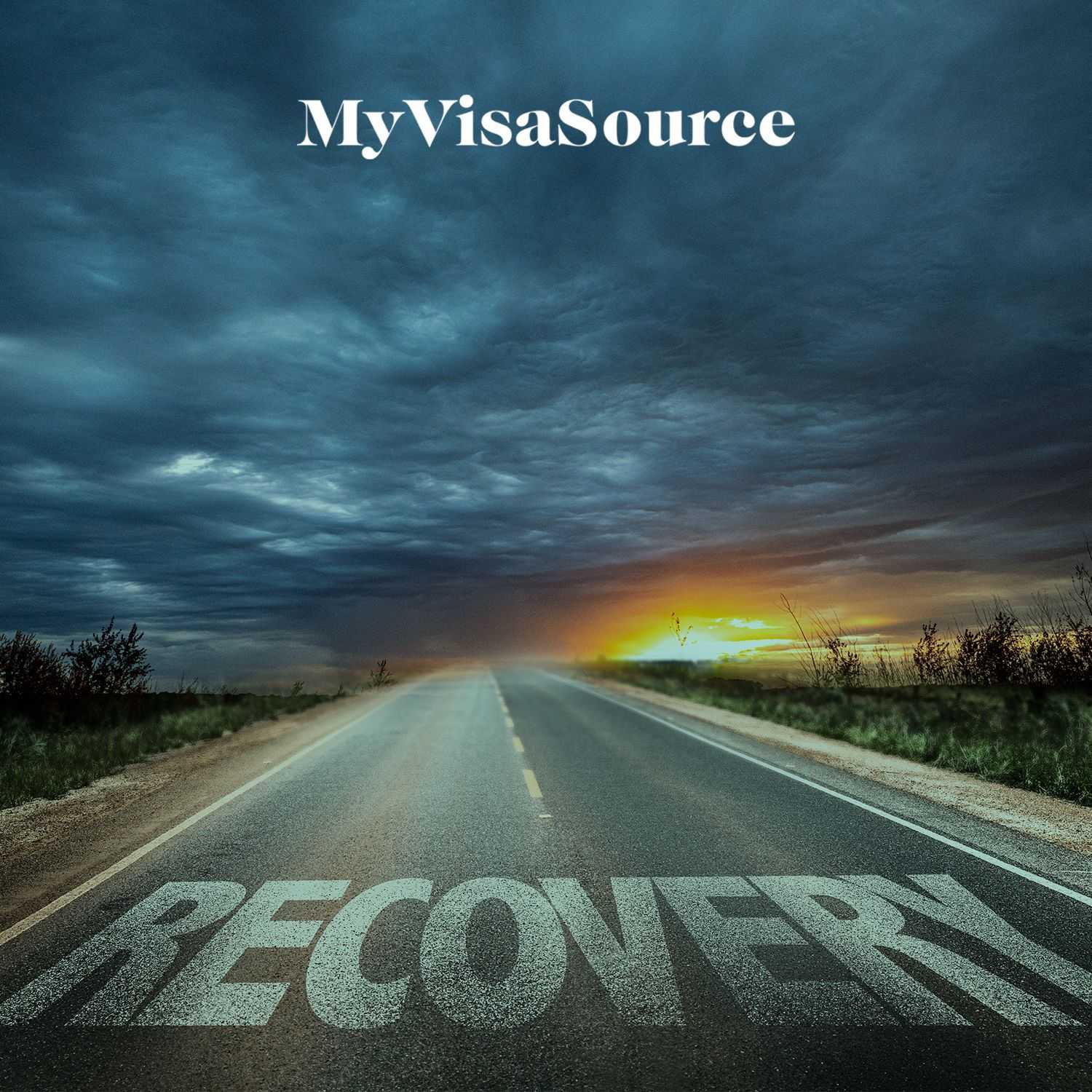 road goes into the horizon with recovery written on it my visa source