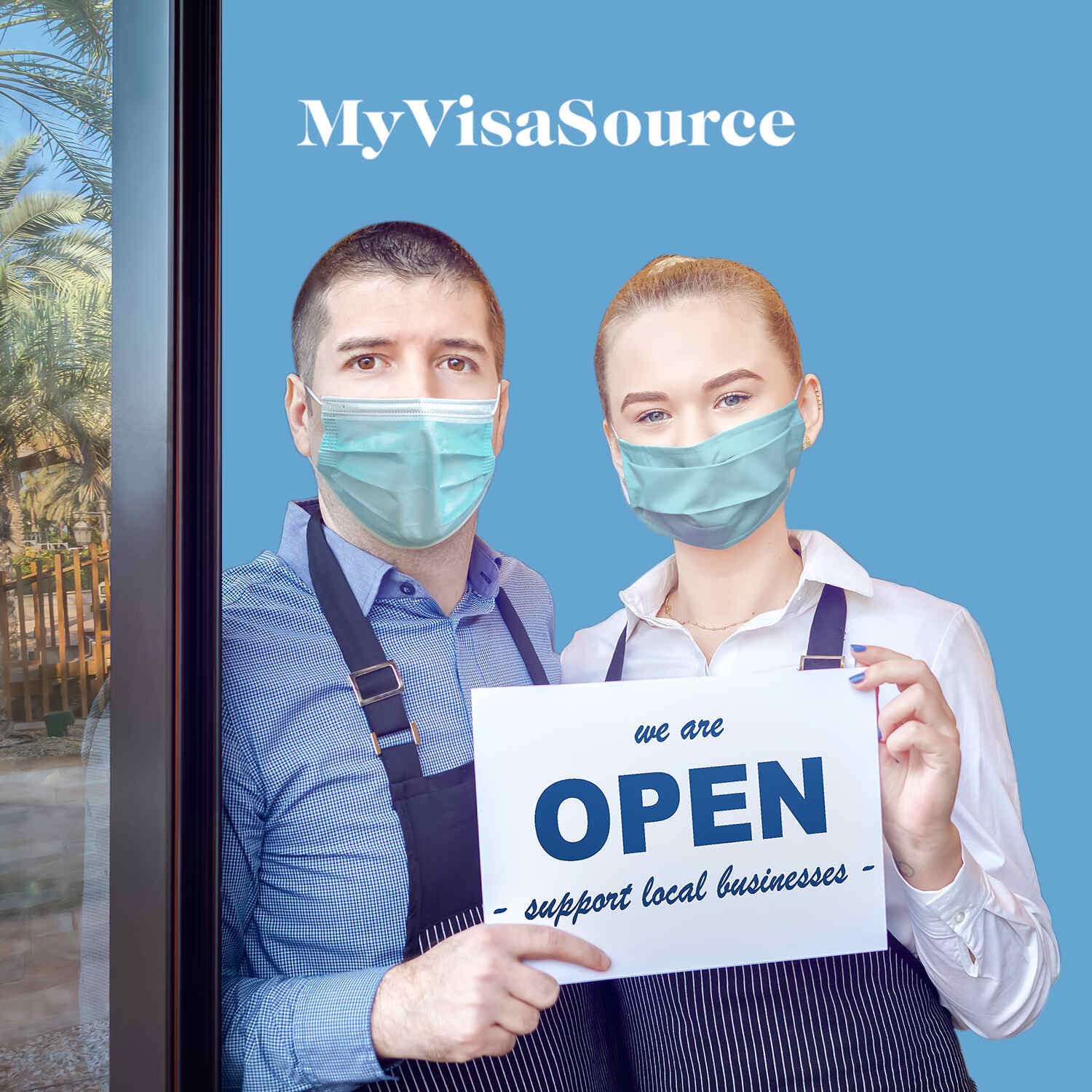 small business owners with covid masks holding up an open sign my visa source