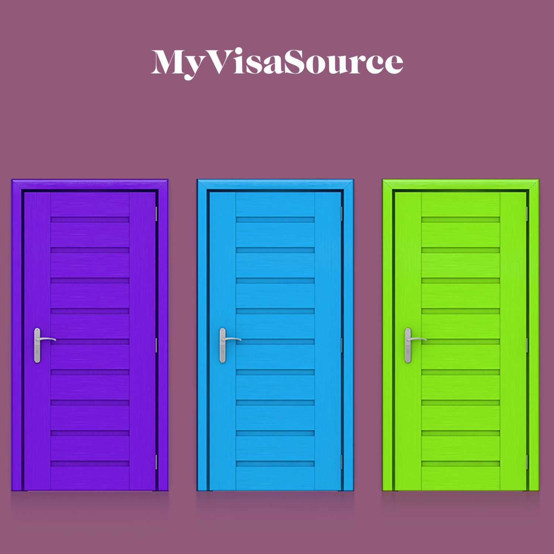three coloured doors beside each other my visa source