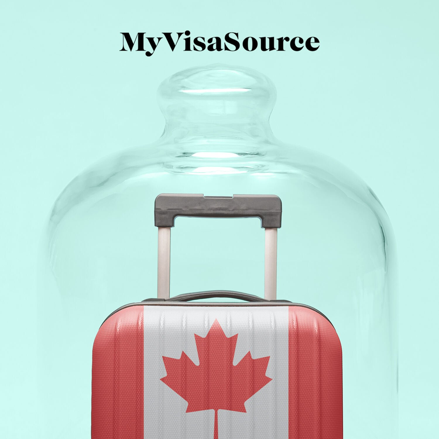 travel luggage with canadian flag in a glass bottle my visa source