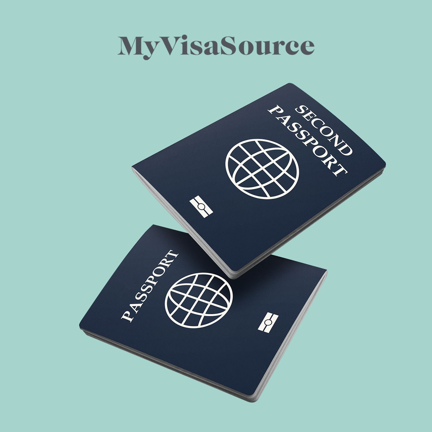 two passports with the one on top saying second passport my visa source