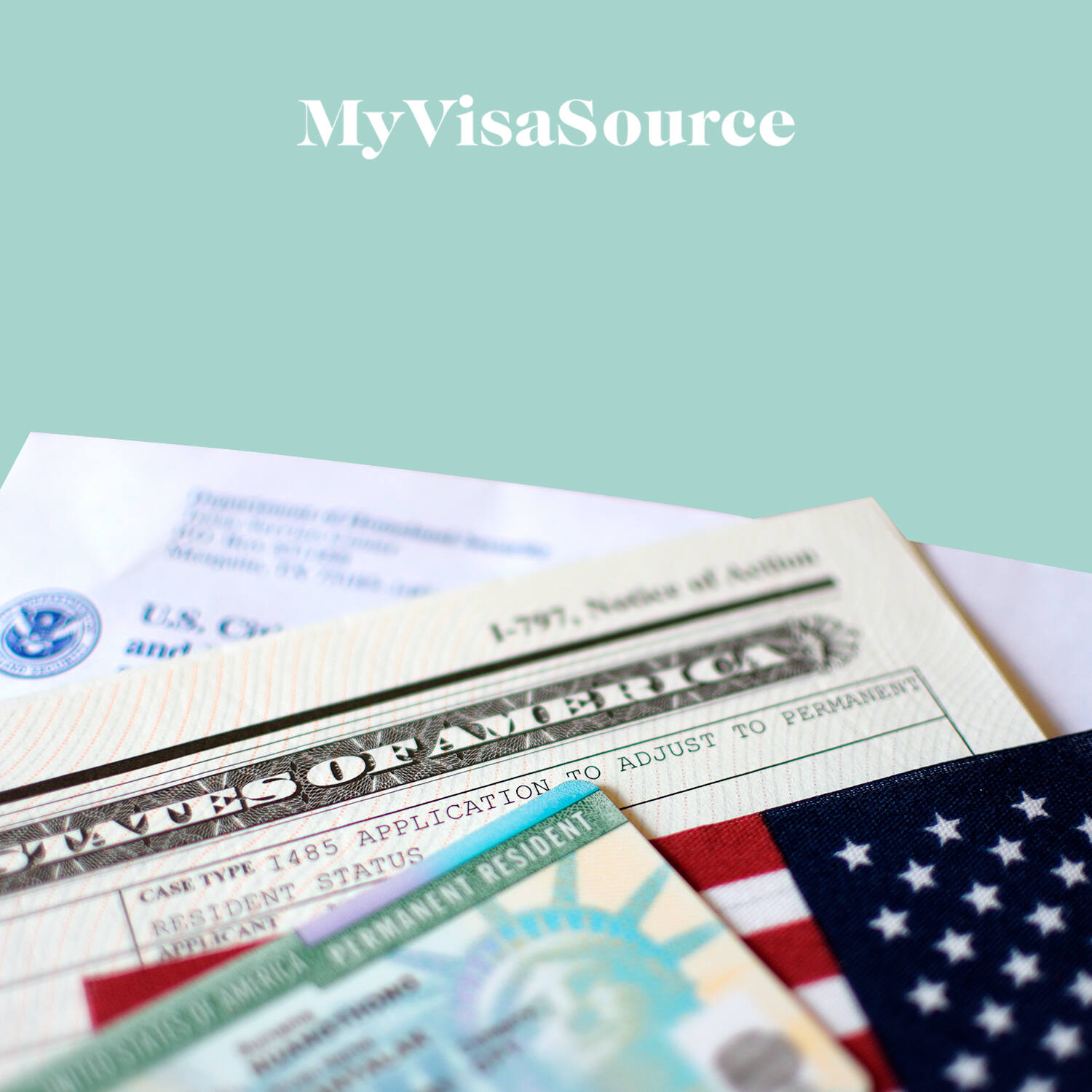 us immigration legal documents green card and us flag my visa source