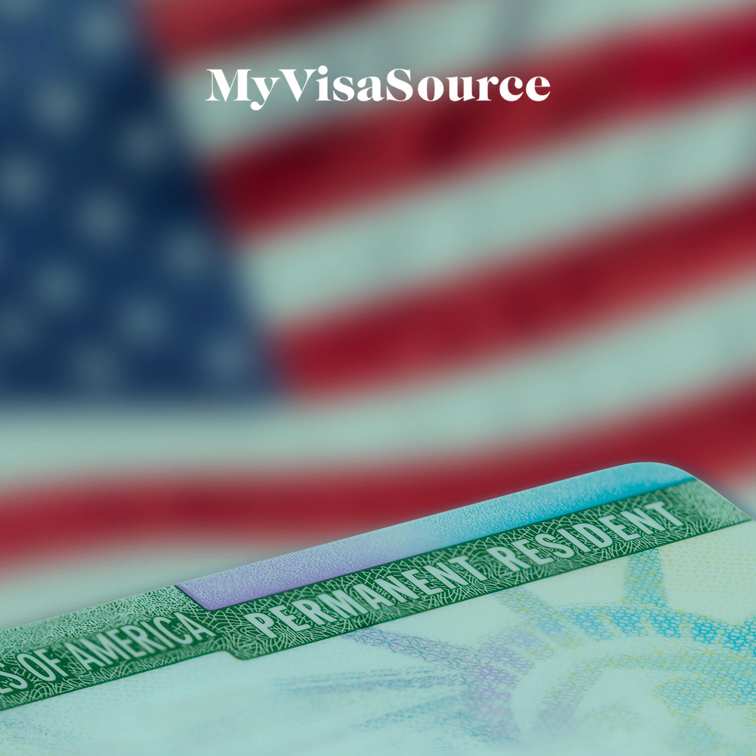 us permanent resident green card with a us flag background