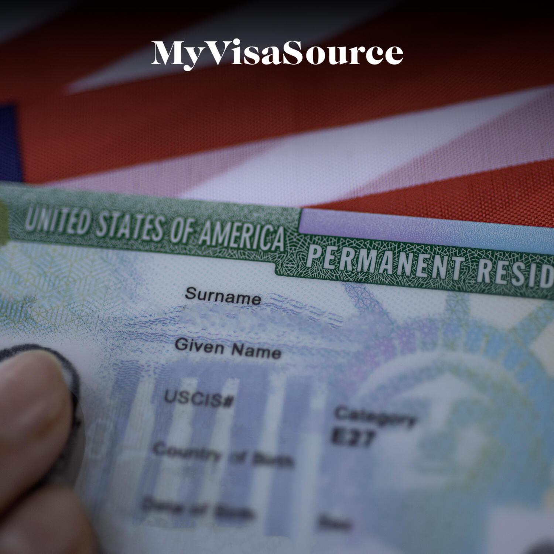 usa green card over a usa flag my visa source