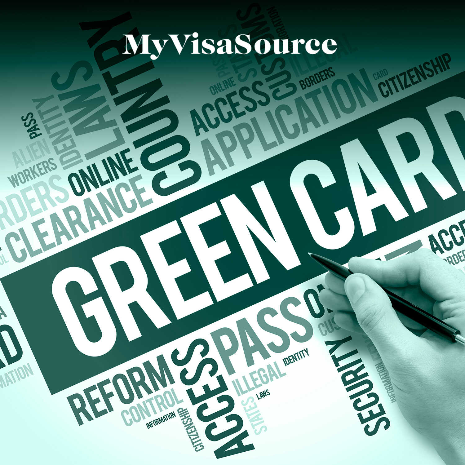 usa green card word cloud with hand holding pen my visa source