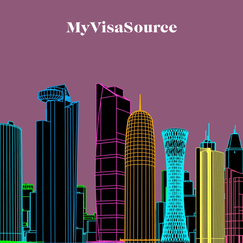 vector drawing of city of doha qatar my visa source