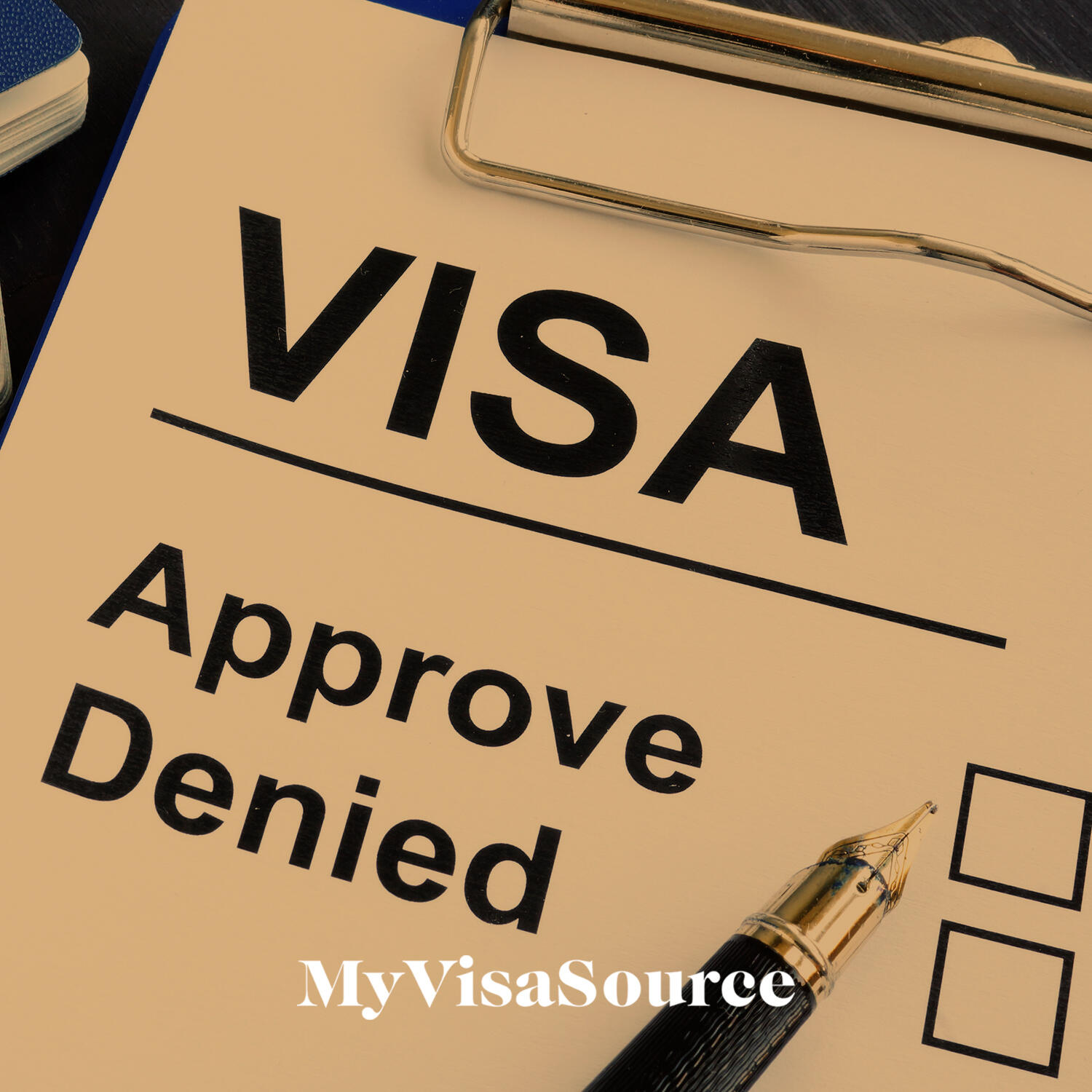 visa document with unchecked approve and denied boxes