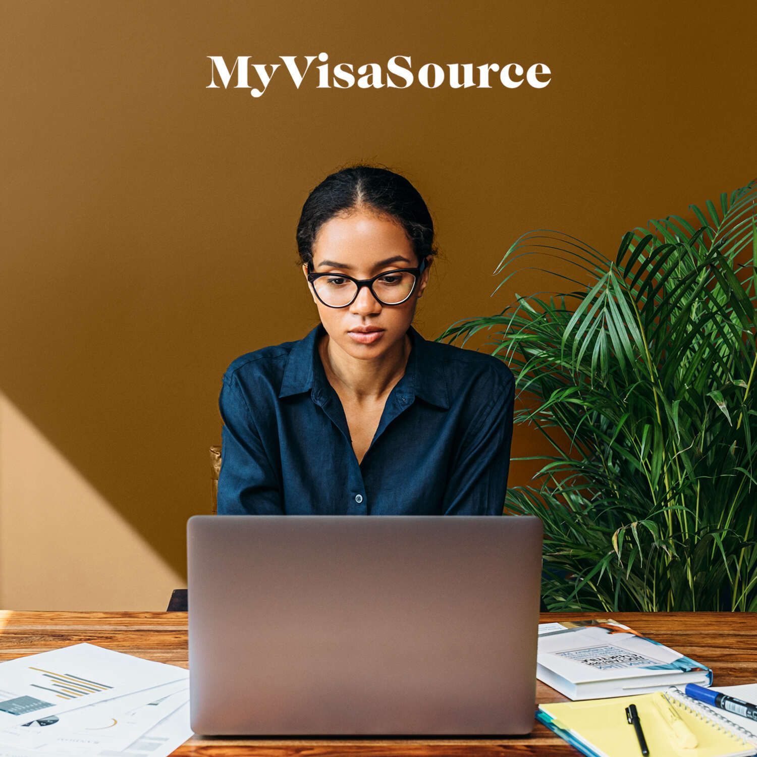 woman working at desk on laptop my visa source