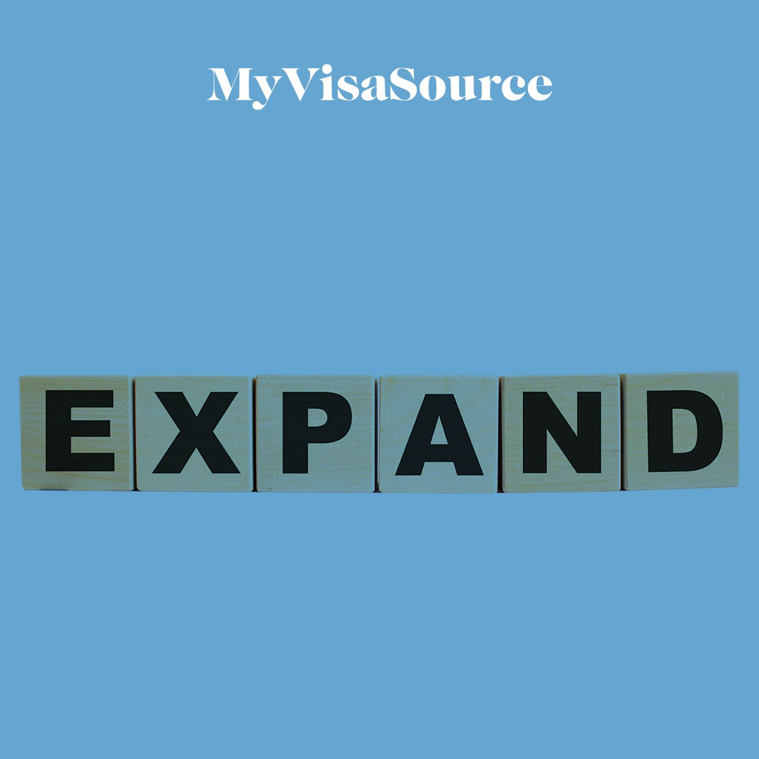 wooden blocks spelling out the word expand my visa source