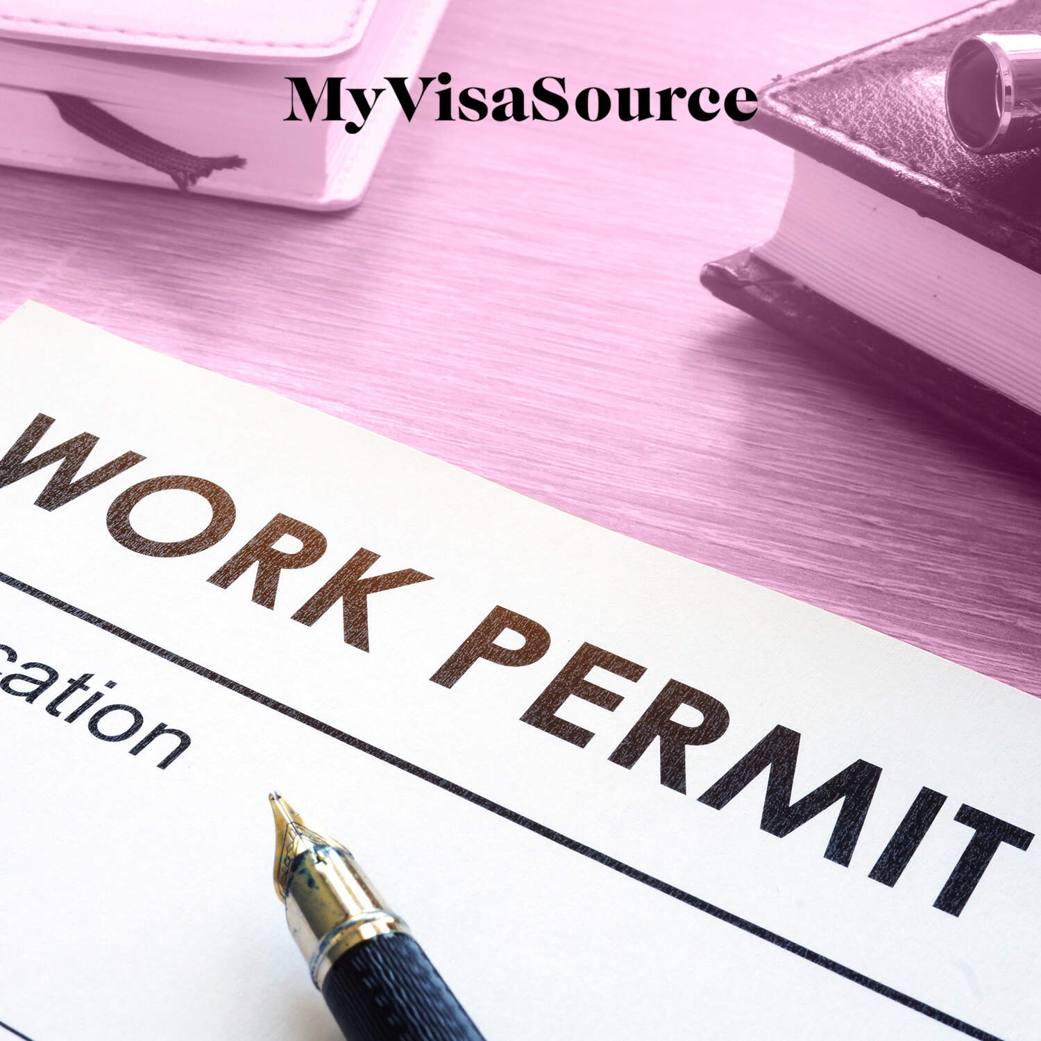 work permit application with a pen over the paperwork my visa source