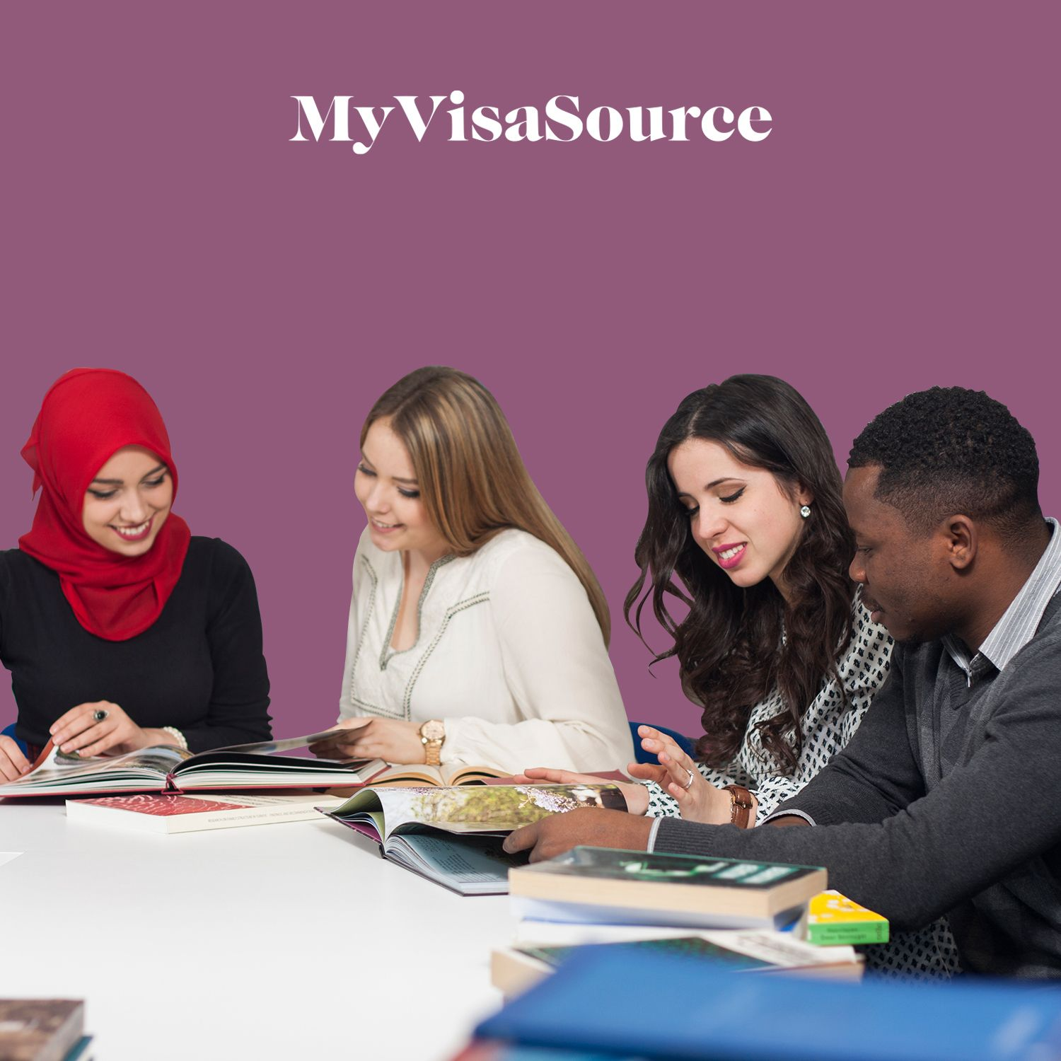 young and cheerful students reading books my visa source