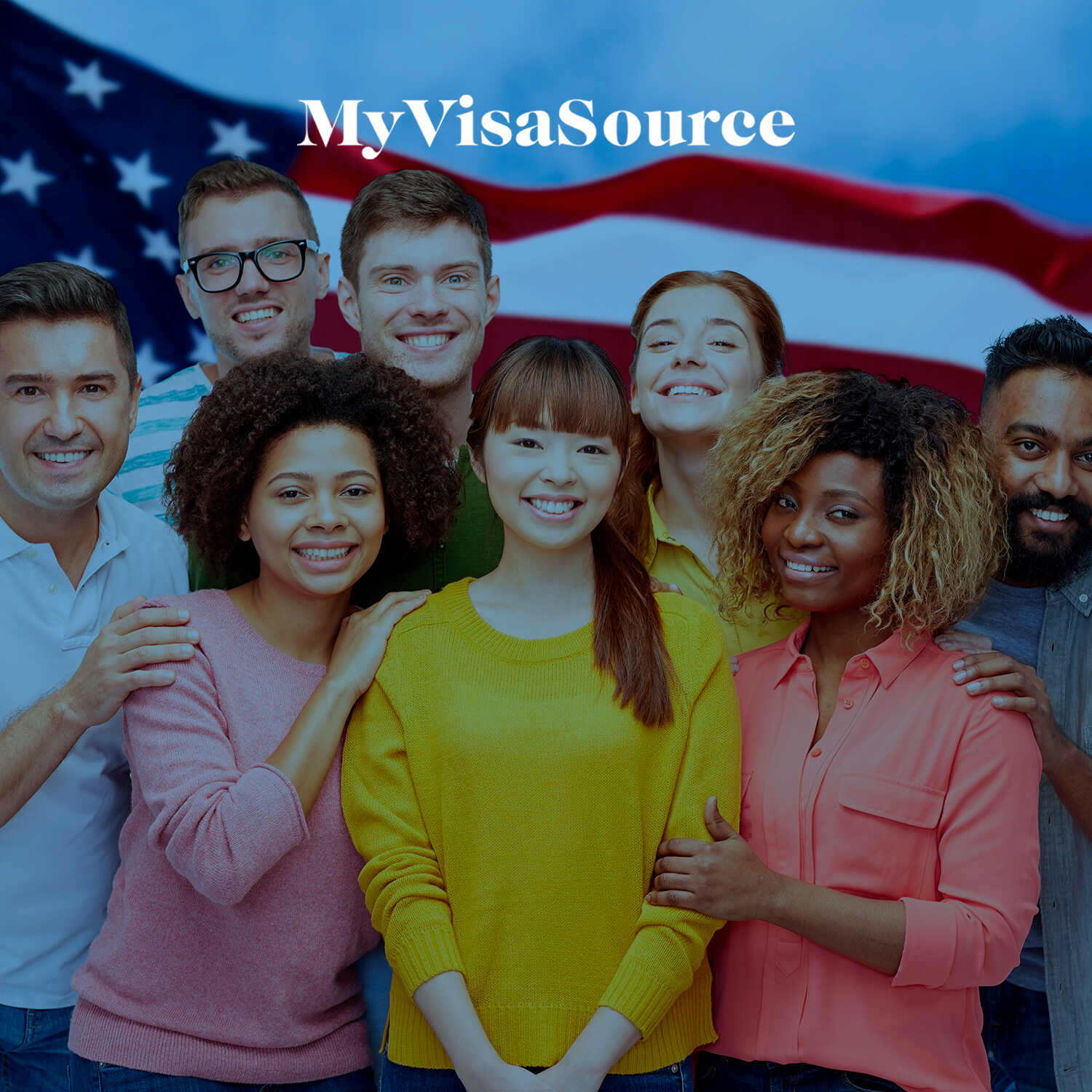 young people of varying races posing in front of a us flag my visa source
