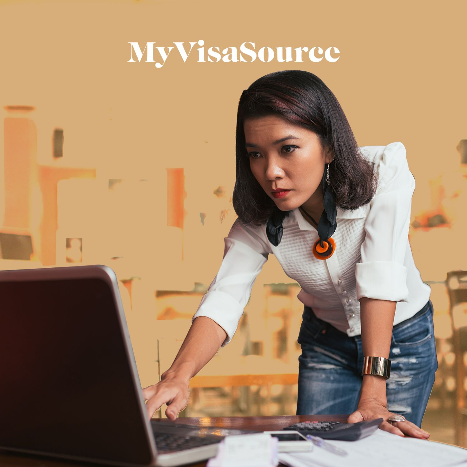 young professional woman over laptop my visa source