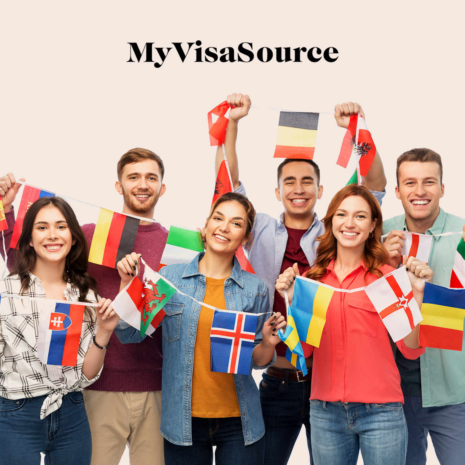 young smiling students with various country flags my visa source