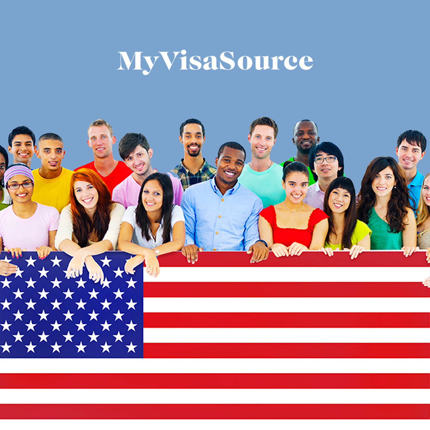 young students with different ethnicities posing behind an us flag my visa source
