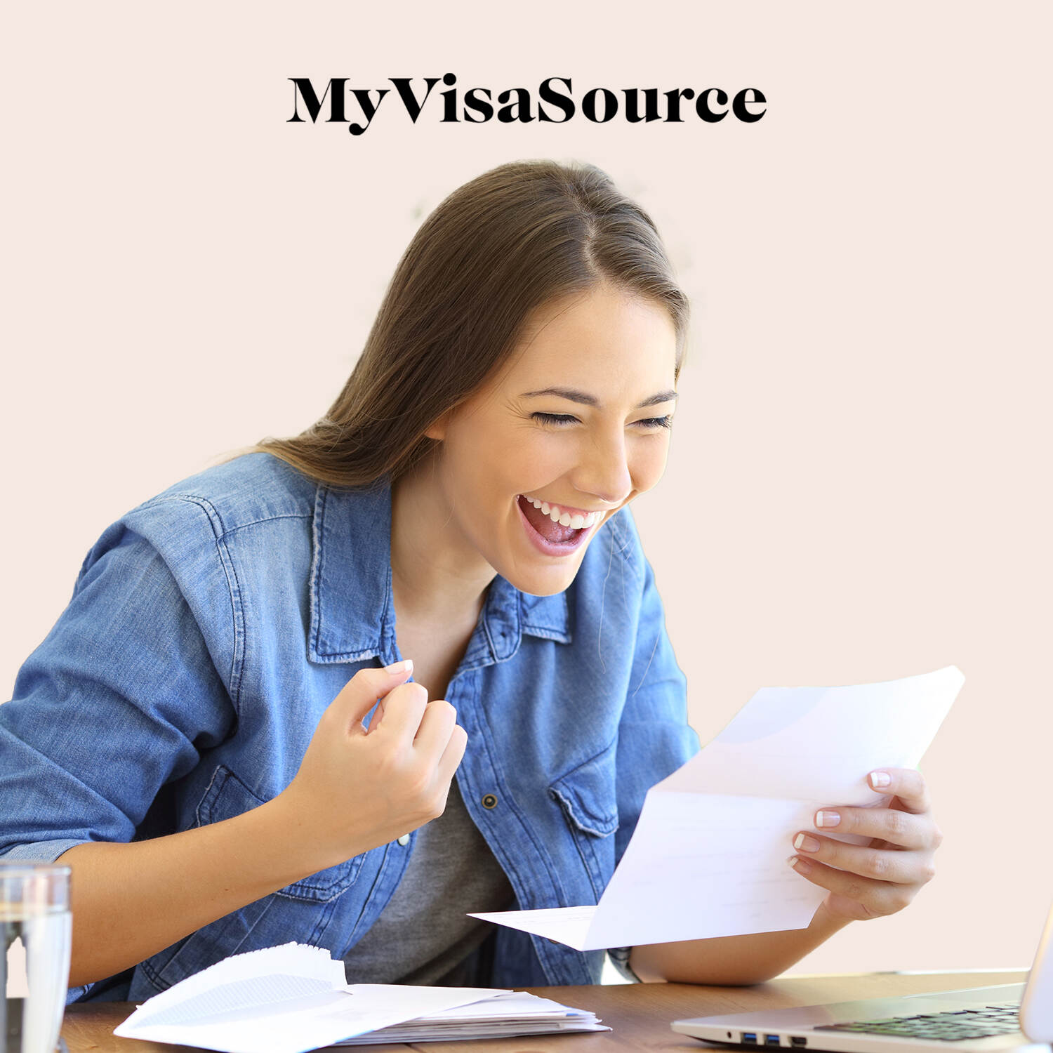 young woman excited reading a letter my visa source