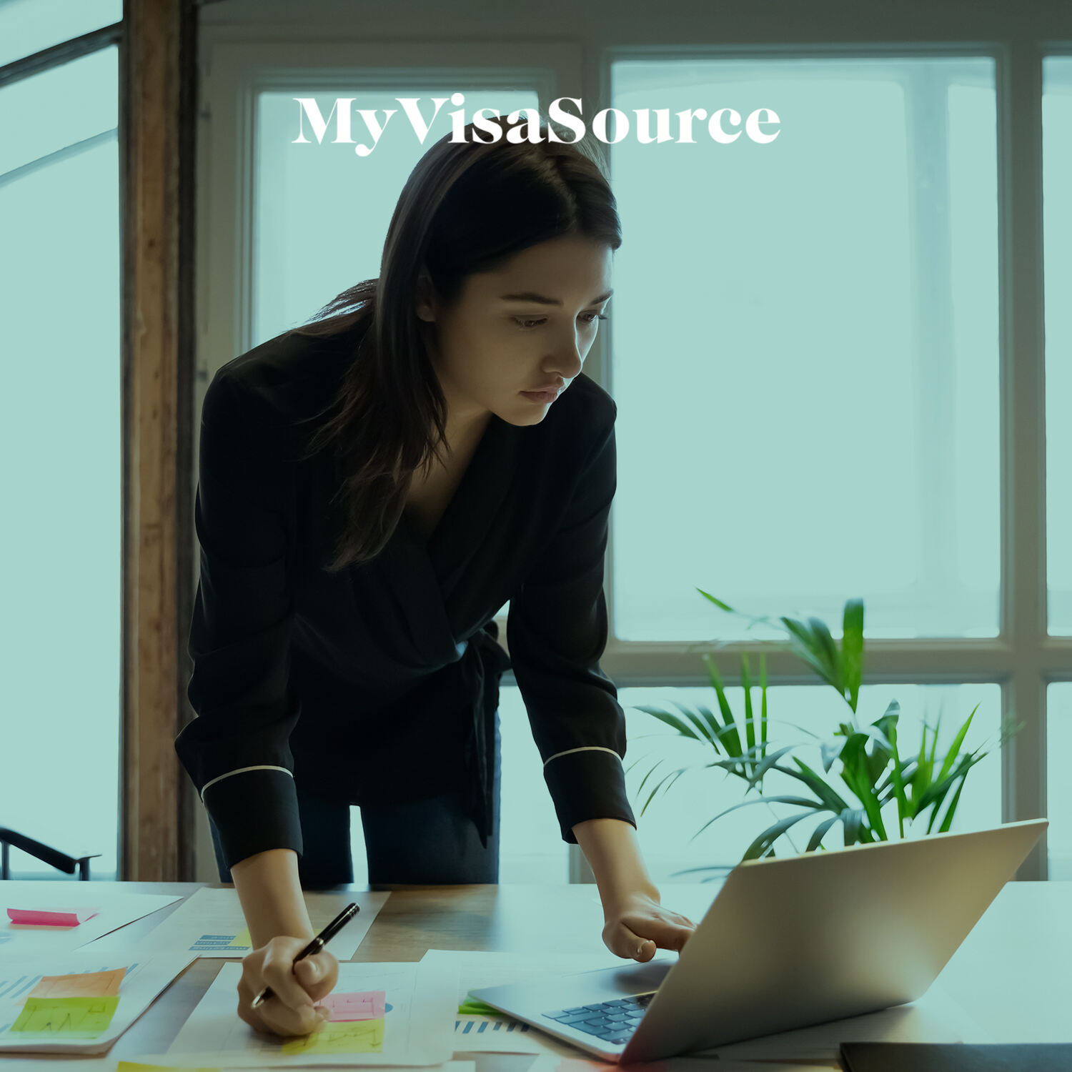 young woman working on laptop my visa source