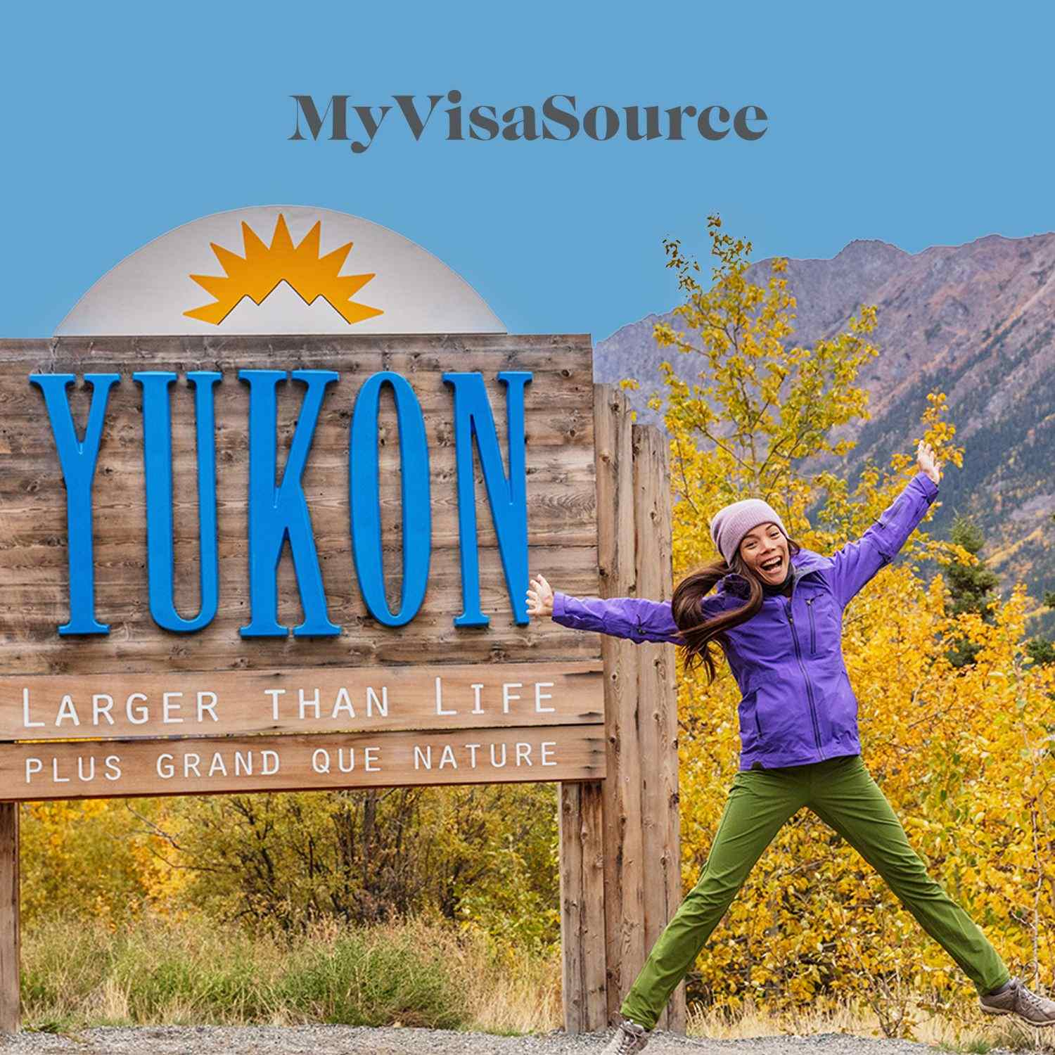 yukon territory sign with a girl jumping my visa source