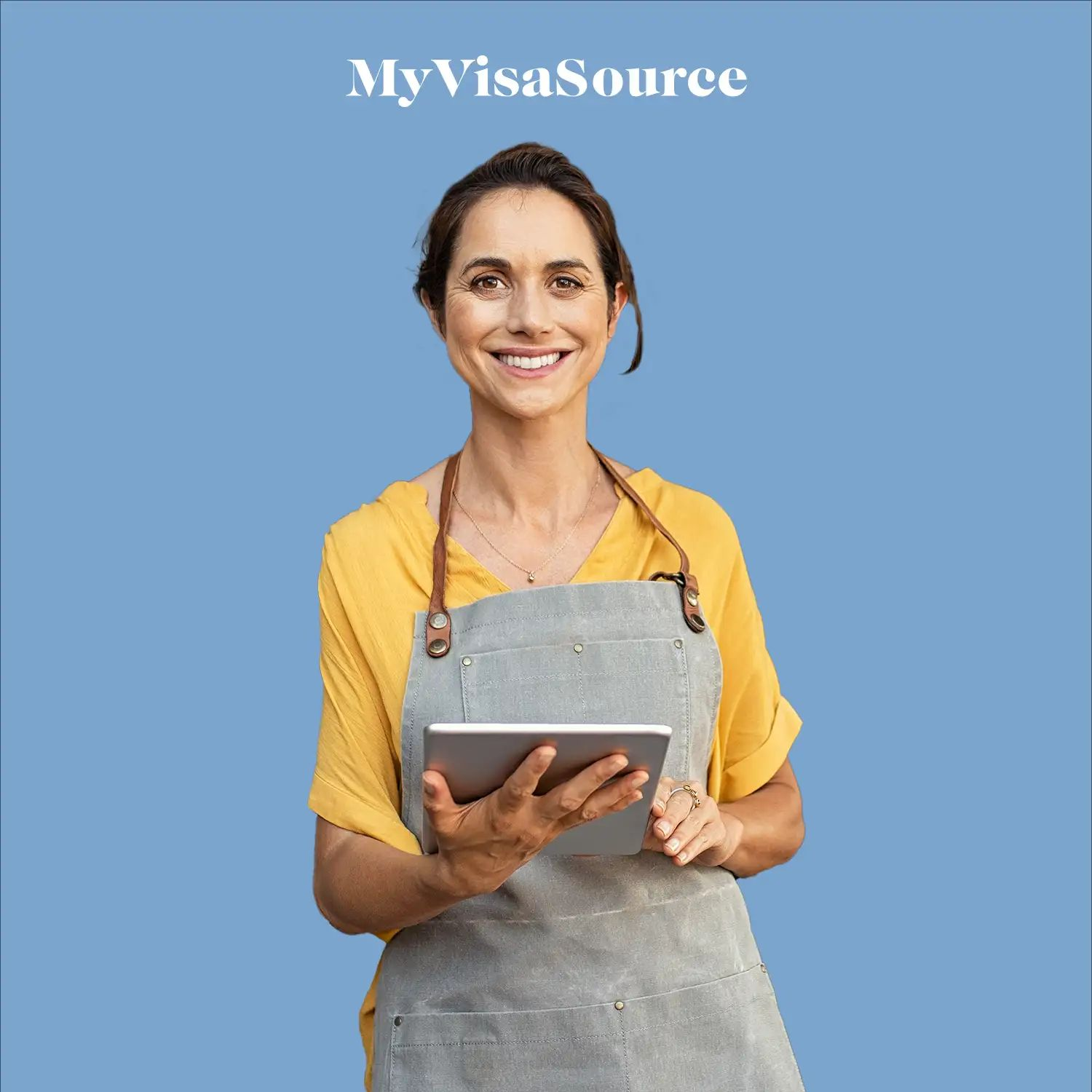 cheerful store clerk woman with a tablet on blue background by my visa source
