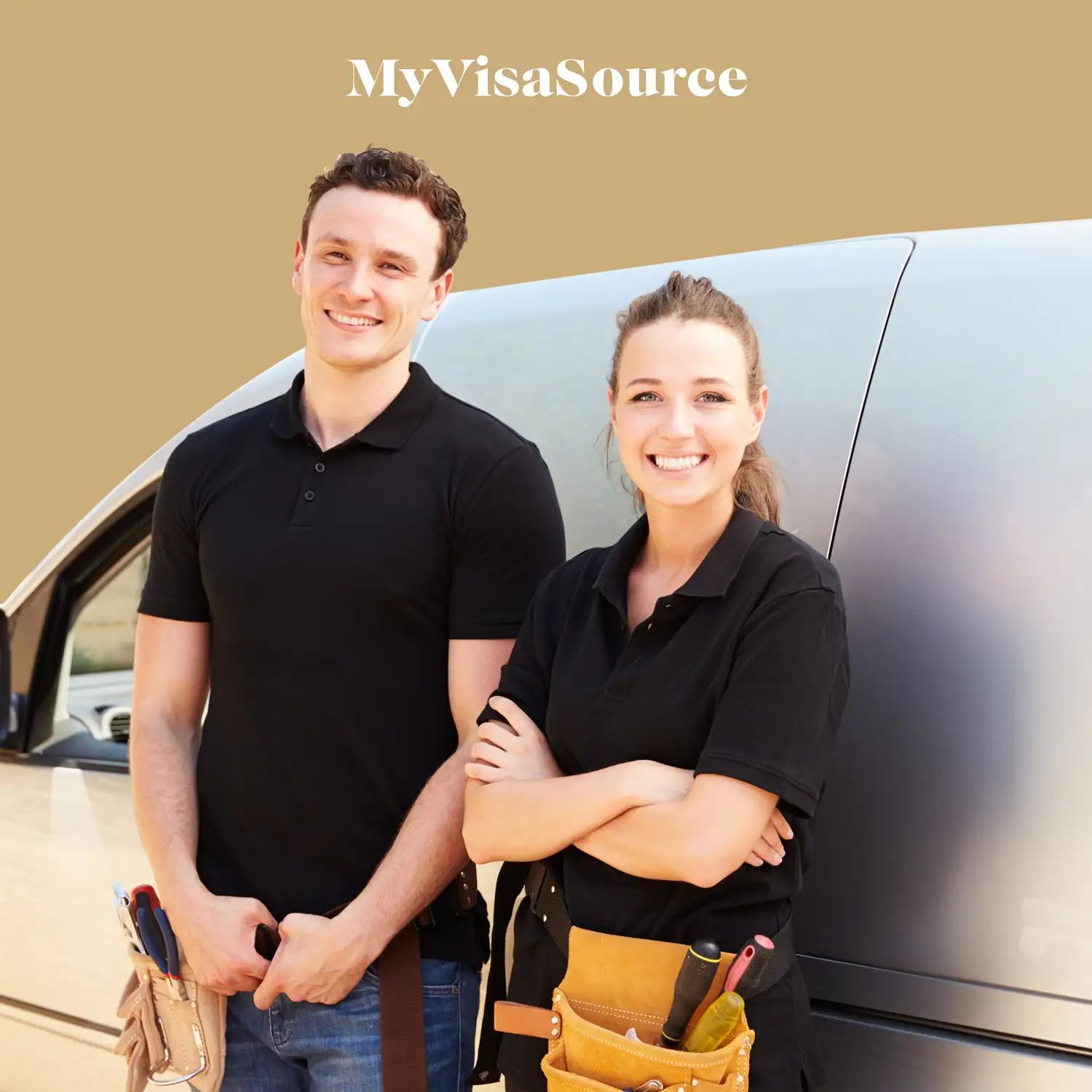 cheerful young couple tradespeople posing infront of their work van on brown background by my visa source