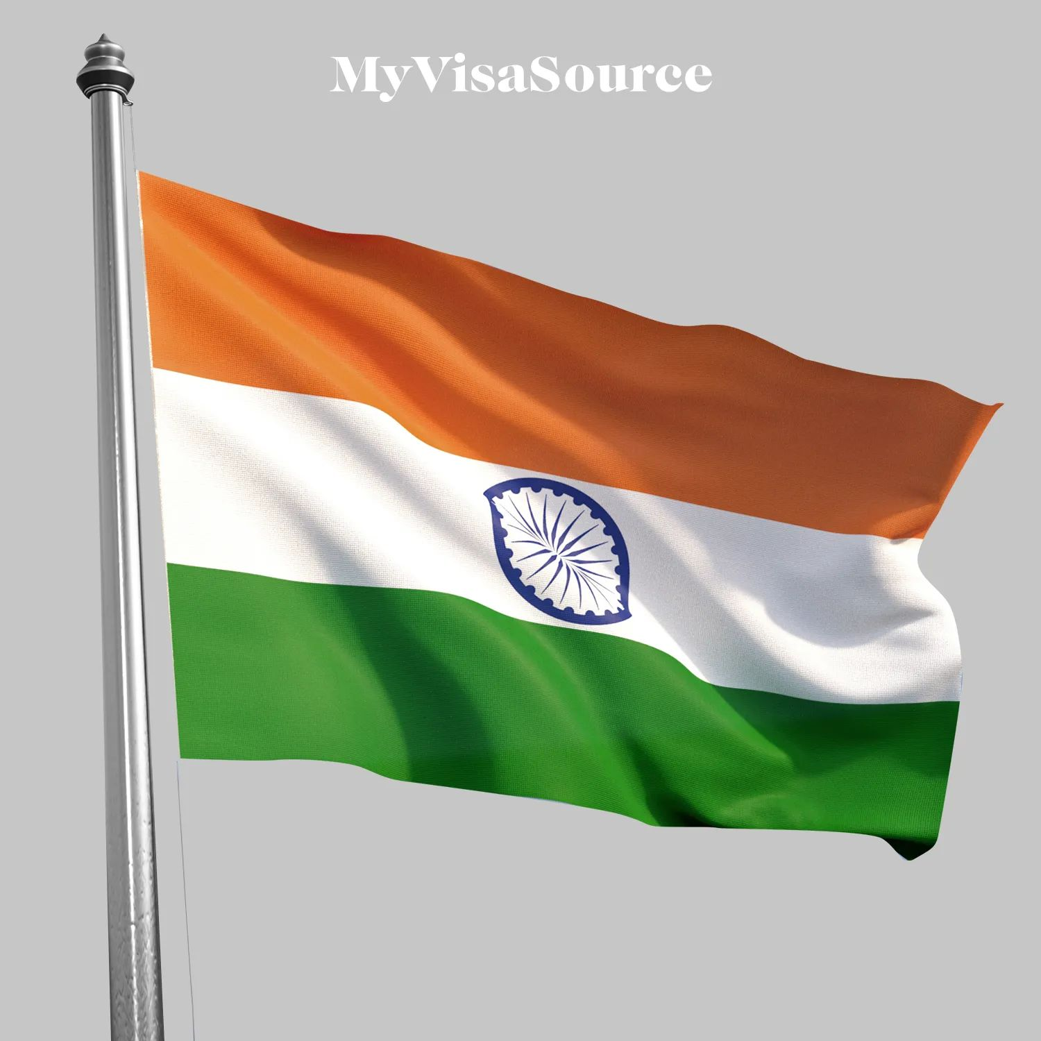 flag of india on grey background by my visa source