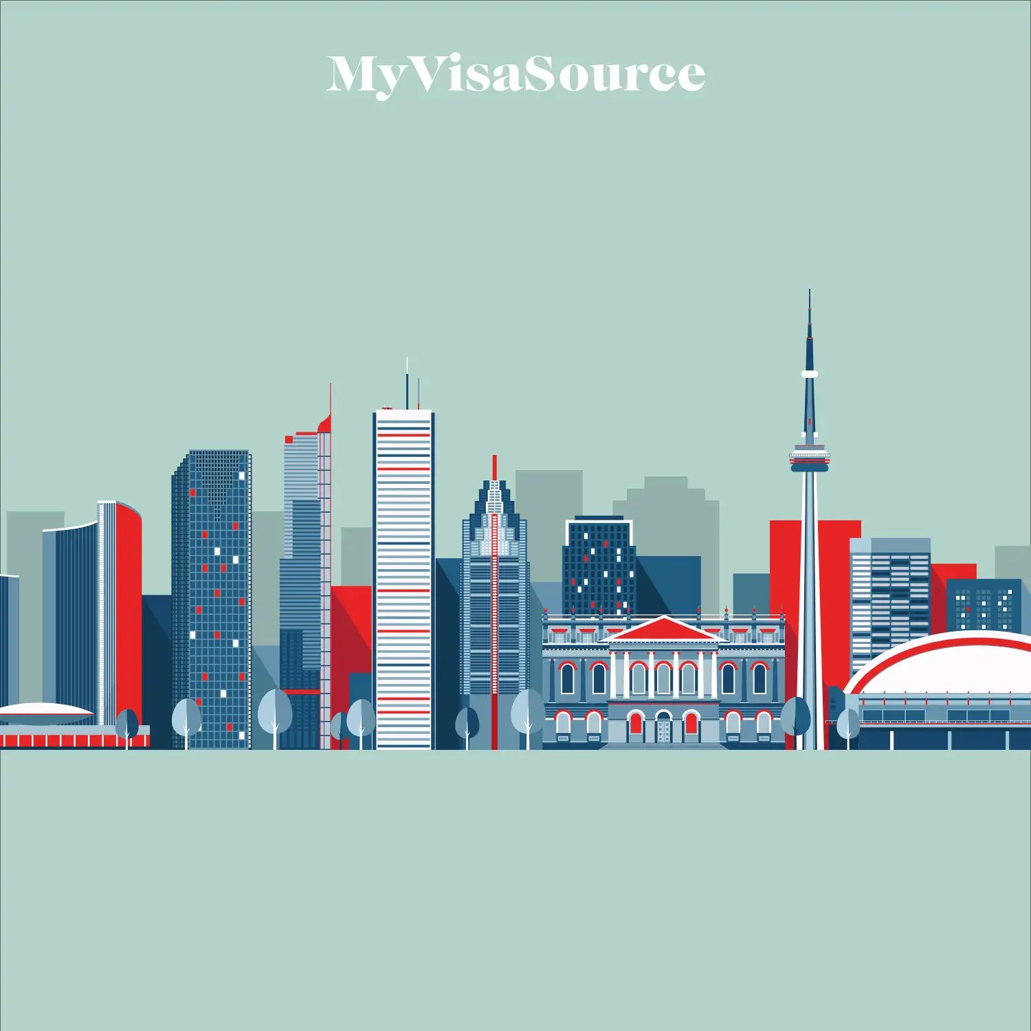 toronto-skyline-in-a-boxy-drawing-with-monochrome-blues-and-reds-on-turquoise-background-by-my-visa-source