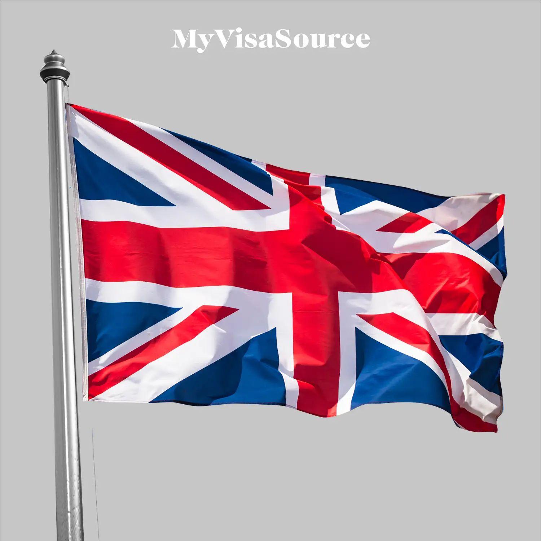 united kingdom flag on grey background by my visa source