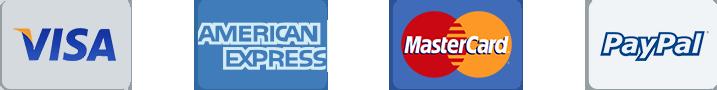Visa Credit Card Logo, American Express Credit Card Logo, Mastercard Credit Card Logo, PayPal Email Payment Company Logo